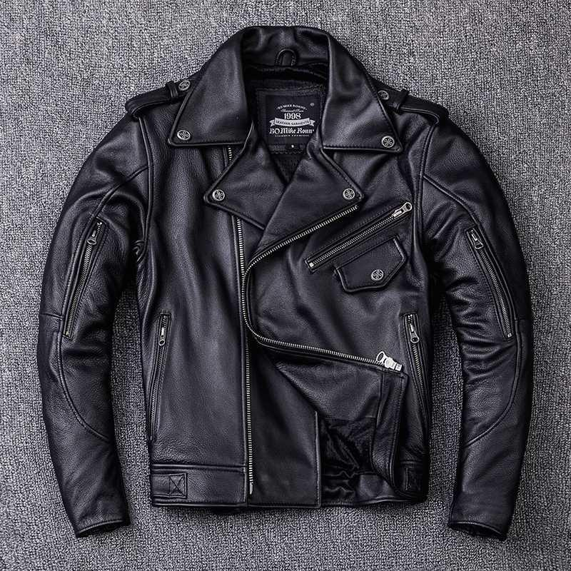 Подлинная 2020 профессия мотоцикл байкер куртка мужчины могут быть загружены с защитным снаряжением лацкан короткое кожаное пальто