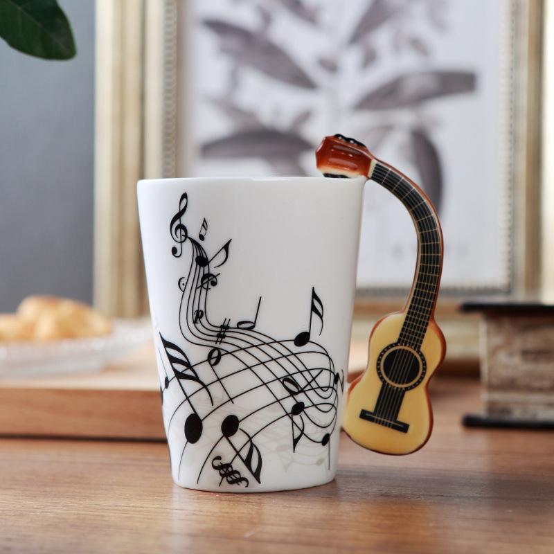 الجدة الغيتار السيراميك القدح صنع الشاي والحليب الموسيقى الكؤوس مع مقبض القدح القهوة هدايا للأصدقاء