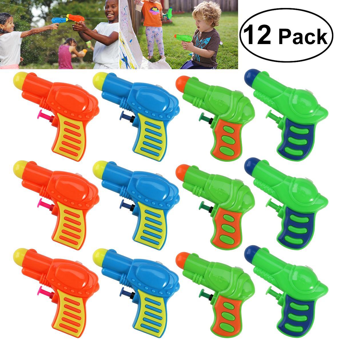 12 piezas de agua coloridas pistolas de agua de plástico Squirt Toy para los niños que riegan el juego (color al azar)