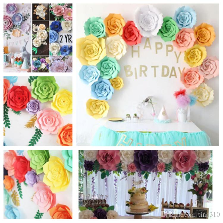 2019 New 20cm 30cm 40cm Diy Paper Flowers Background Wall Decoration Wedding Decoration Party Decoration Valentine S Day Room Decorationt2i5109 From