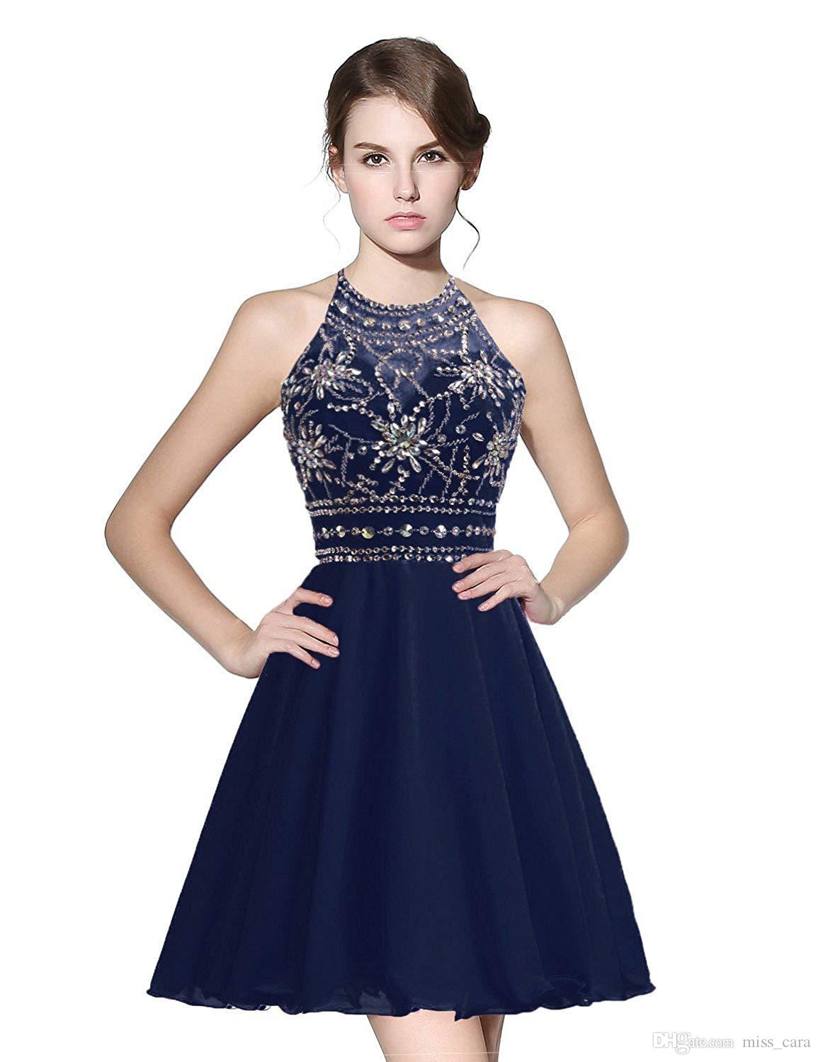 Cheap Navy Blue Homecoming Dresses Halter Backless Beded Crystal Princess Plus Size Cocktail Party Dress Custom Made Vestidos