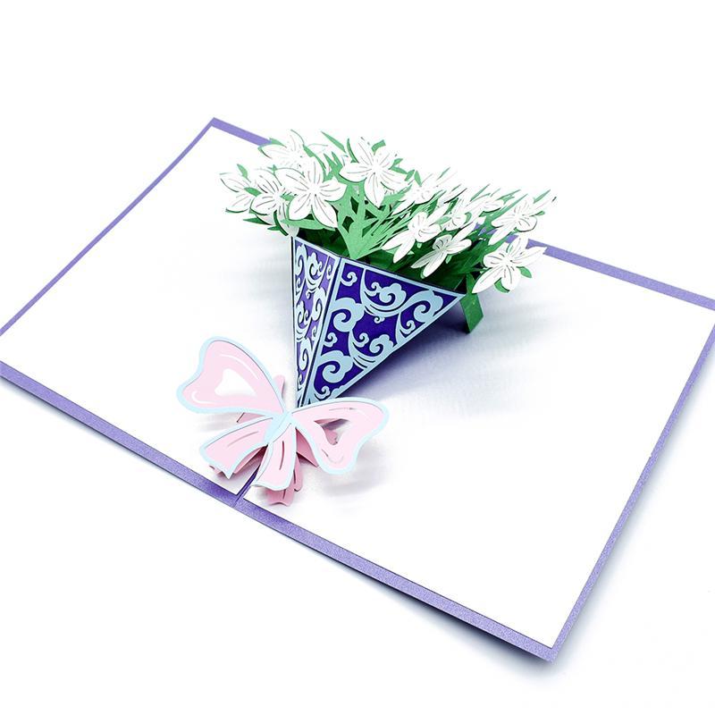 Um buquê de flores gardênia Cartão UP 3D presente de aniversário com convite corte da etiqueta do envelope do laser Cartão do cumprimento Cartão