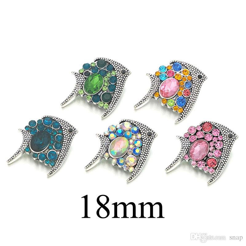 Fashion New Component w457 Crystal 3D 18m Metal Snap Button For Bracel Third Jewely Women Accessorie Findings