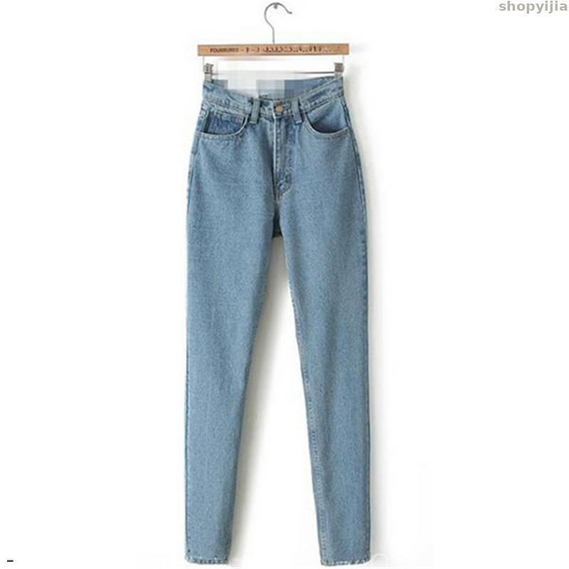 Nova Primavera Outono coreano Moda Light Blue XS-3XL Plus Size Jeans Zipper Pockets Calças Lápis Jeans Mom