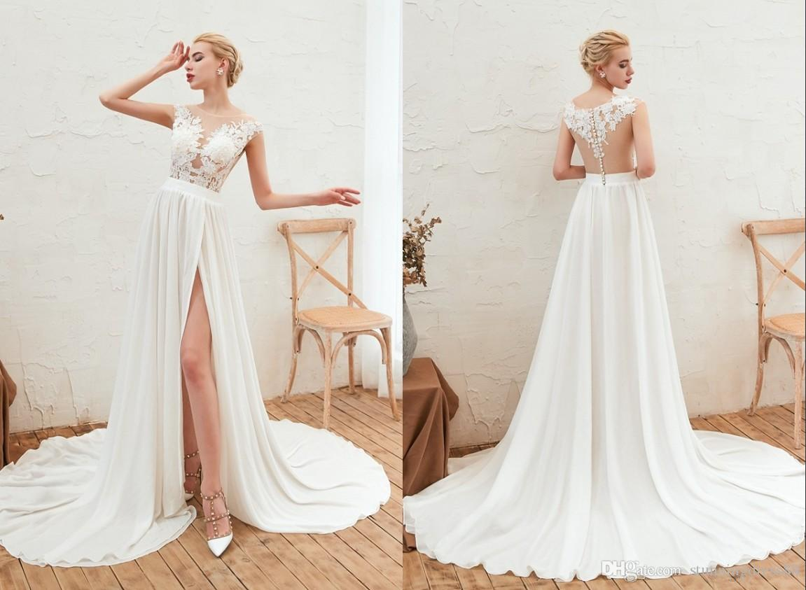 Sexy high Slit Sheer Neck Wedding Dresses Beach Summer Designer See Through Top Backless Chiffon Country Wedding Dress Bridal Gowns Cheap