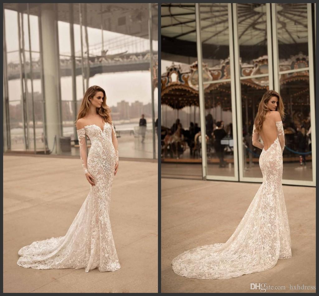 2020 New Berta Vestidos de Noiva Sweetheart Decote Das Mangas Longas Backless Vestidos Bridais Varredura Renda Lace Appliqued Sereia Vestido de Noiva