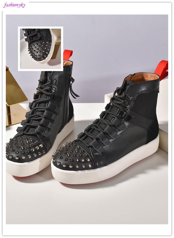 Ultime NUOVI uomini del progettista che eseguono Red Shoes Krystal Spike calzino formatori inferiore Sneakers neoprene Rivetto scarpa da tennis per la taglia 35