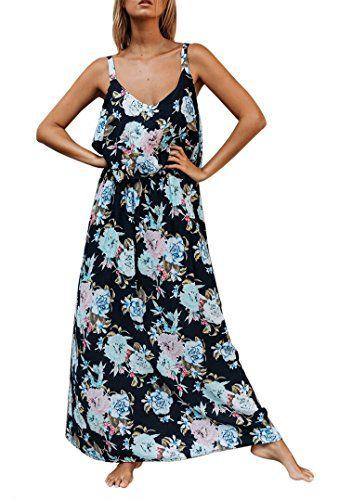 Ofenbuy Womens Çiçek Maxi Elbiseler Yaz Rahat Kolsuz Strappy Salıncak Uzun Tank Elbise