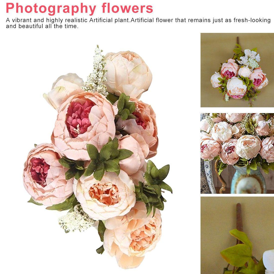Charming Artificial Flowers Silk Foam European Artificial Peony Decorative Bride Bouquet Home Wedding Decor