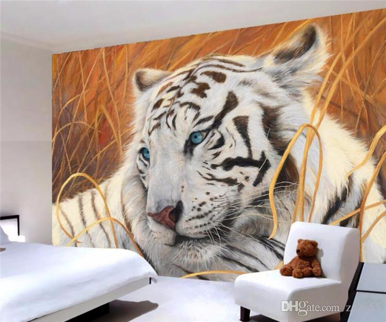 Custom wallpaper white tiger painting background wall living room bedroom murals home decoration 3d wallpaper mural
