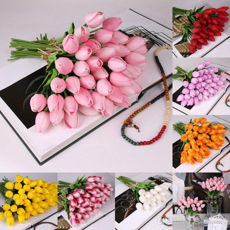 Латекс тюльпаны искусственные PU букет цветов настоящее сенсорный цветы для украшения дома свадебные декоративные цветы 7 цветов вариант