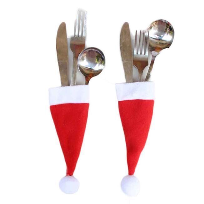 크리스마스 모자 식기 세트 칼 홀더 포크 나이프 식기 포켓 크리스마스 장식 가방 식기 # 15