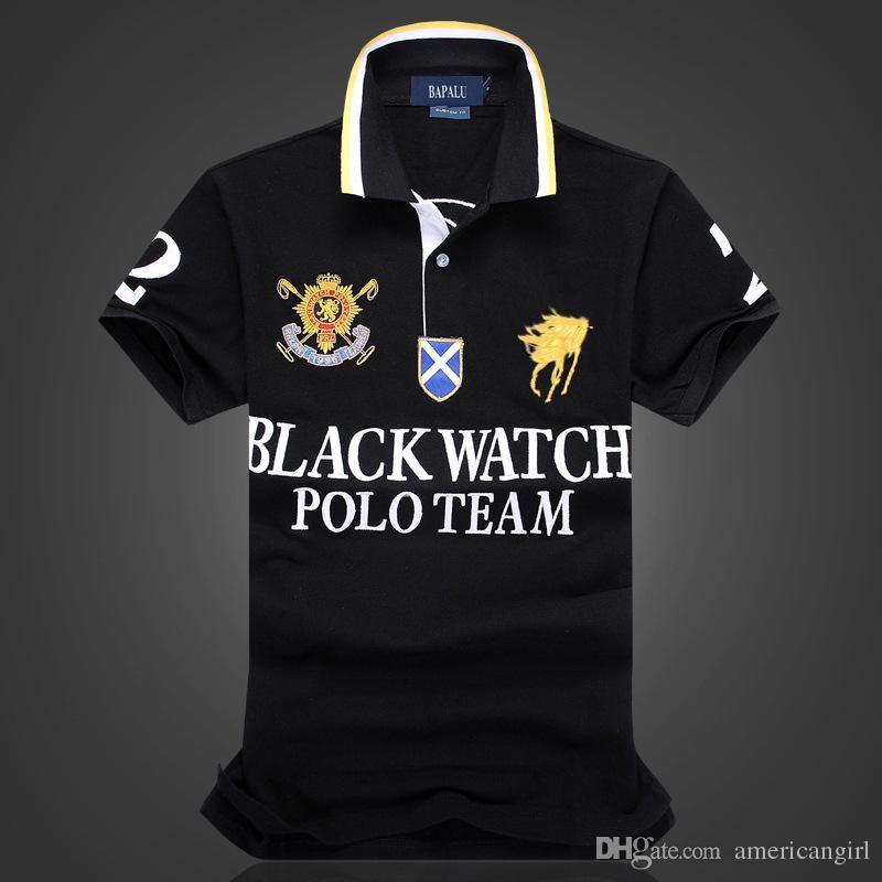 Camiseta de polo negra de alta calidad 100% algodón de diseño para hombres con diseño de bordado