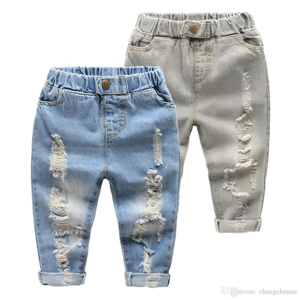Джинсы для детей с прямыми ногами Little Baby Boys Girl Fashion Разорванные джинсы Западные джинсы Брюки с рваными отверстиями