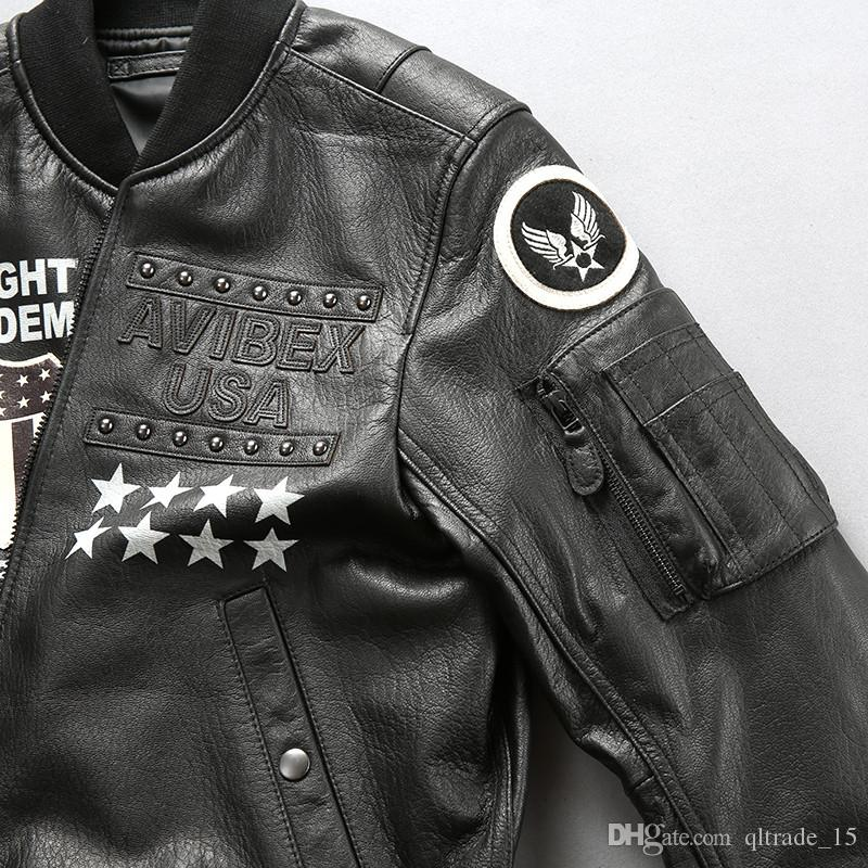 Stand collar men down leather jackets Embroidery baseball suits 109 Rivet air force flight bomber jackets