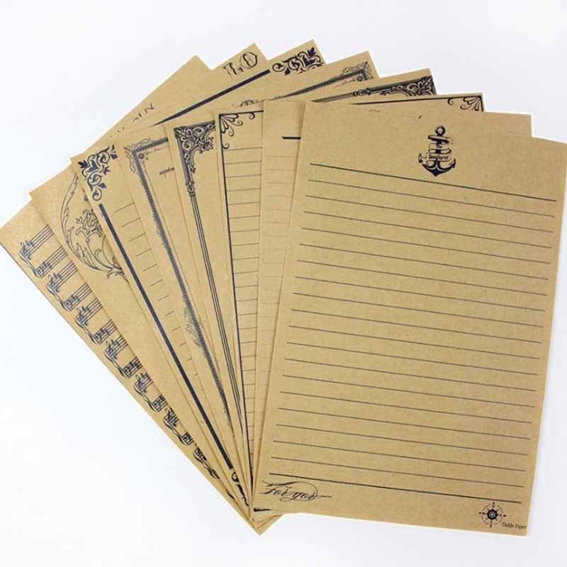 8 Unidades / pacote Novidade Carta Real Pad Estilo Europeu Do Vintage Envelopes Carta de Papel de Carta de Boa Qualidade Cultura Papelaria Kraft