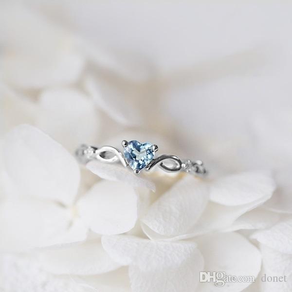 db15ace1c52e0 Women Dainty 18k Gold Seablue Eternal Heart Shaped Sapphire Diamond  Gemstone Ring Silver Rings Black Diamonds From Donet, $0.65| DHgate.Com