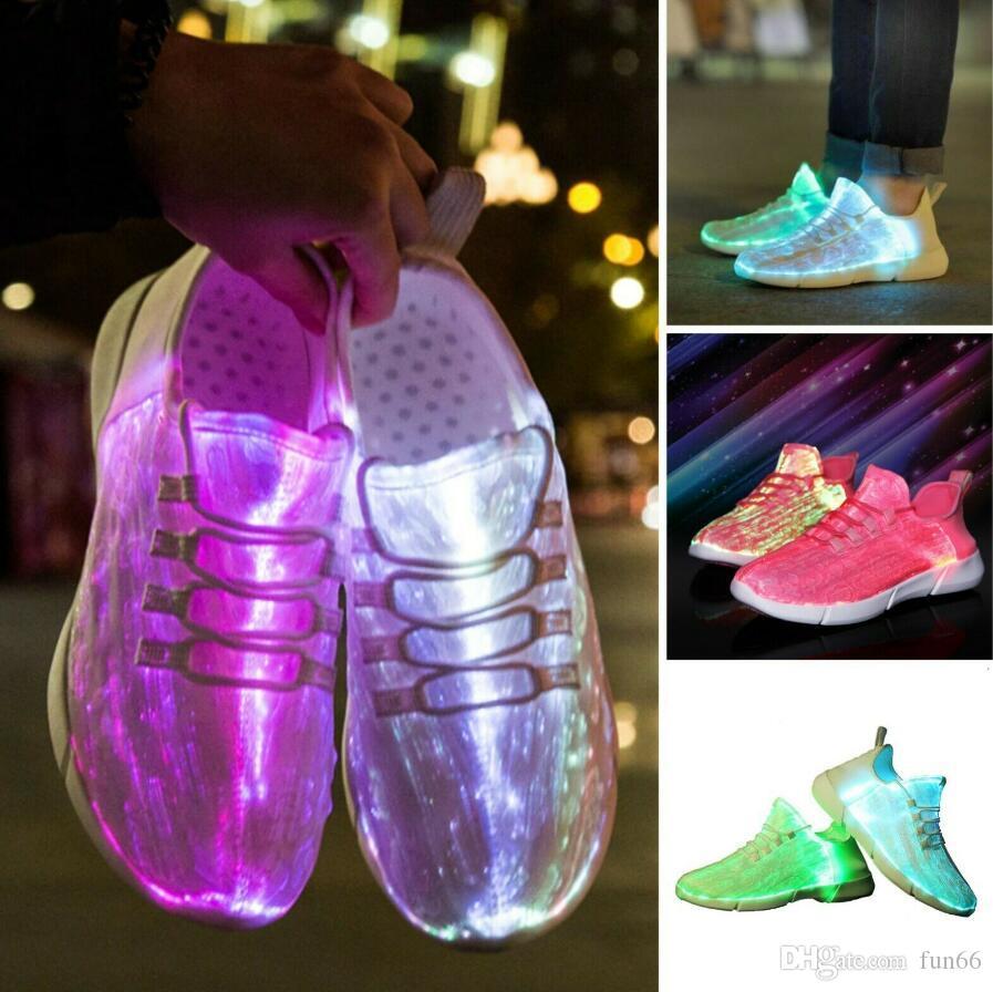 Luminous Glowing Shoes USB Recharge Led Fiber Optic Light Up Sport Unisex Shoes