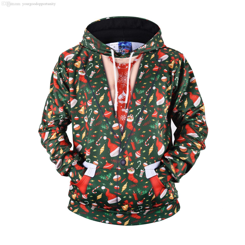 alta qualità autunno e inverno creativo falso due pezzi di maglione con cappuccio stampa regalo di Natale sciolto forte nuovo cappotto