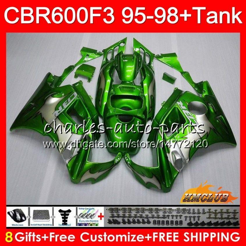 Lichaam + tank voor HONDA CBR 600F3 600CC GROENE VLAMES CBR600 F3 95 96 97 98 41HC.22 CBR 600 FS F3 CBR600FS CBR6F3 1995 1996 1997 1998 Kuip