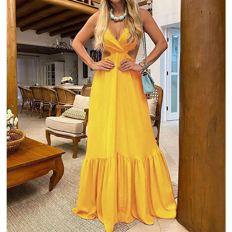 V-Ausschnitt Womens Bodycon Kleider Wrap Chest lange Kleider aushöhlen Solid Color Womens Designer Sexy Kleid