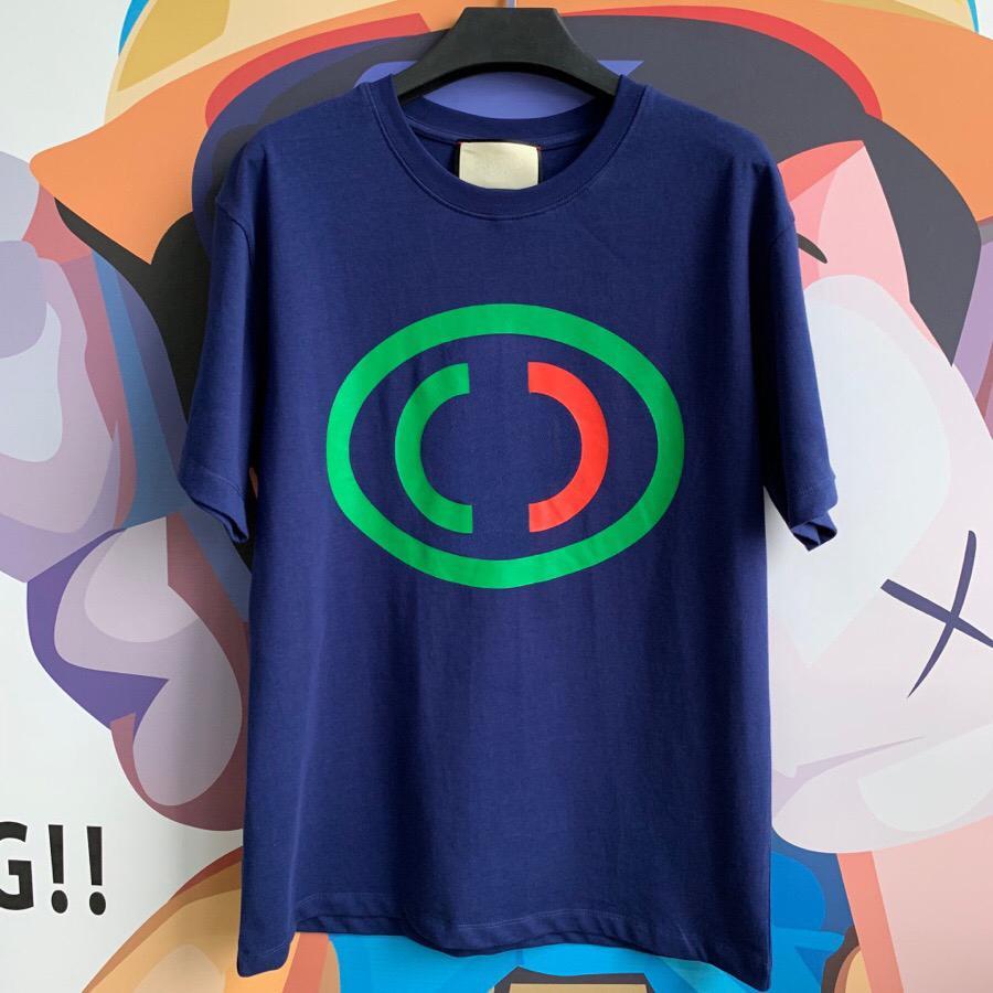 Горячая распродажа 2019 зеленый и красный печать логотипа футболка сделано в италии мода мужчины темно-бежевый цвет хлопок футболка свободного покроя женская футболка футболка HFLSTX484
