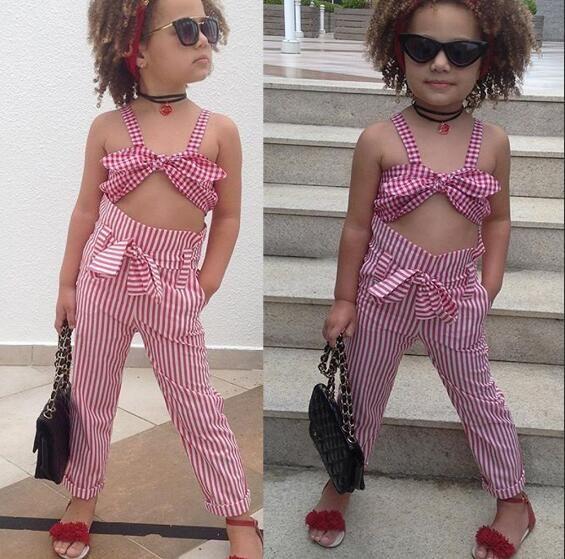 Kleinkind Kinder Baby Mädchen Kleidung Set Sommer Sleeveless Plaid Bow Crop Top + Hosen Plaid Baumwolle Casual Kinder Mädchen Kleidung 1-7 T