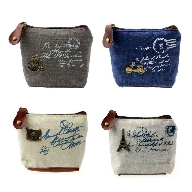 Mulheres carteira pequena Bags Retro Coin Purse Alterar Carteira Canvas Zipper Clutch sacos de presente #BY