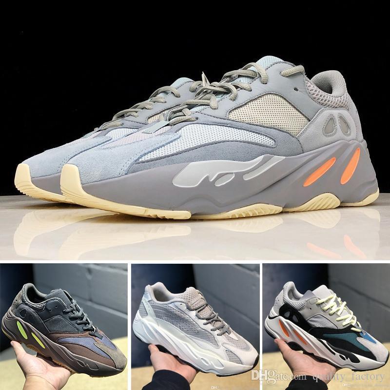 2019 Wave Runner 700 Zapatos para correr Kanye West Inercia Estático Gris Sólido Malva 3M Reflexivo Hombre Mujer Diseñador Zapatillas de deporte 36-45