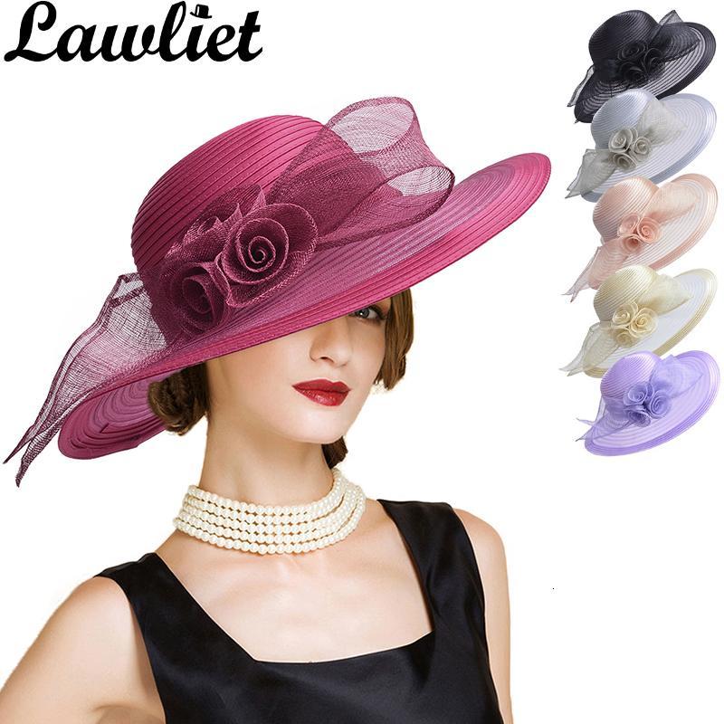 여성 Fascinators 여름 모자 Sinamay 꽃 챙이 넓은 모자 여성 태양 모자 켄터키 더비 파티 드레스 교회 모자 플로피 비치 캡