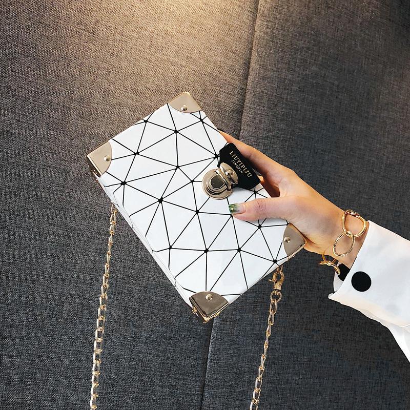 Crossbody Borse di cuoio di alta qualità Donne Femmina catena della borsa selvaggia Crack Stampa selvaggio Shoulder Bag