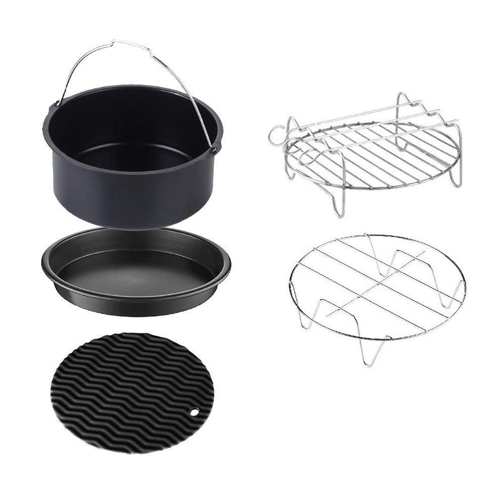 5pcs Fryer Air Accessoires de cuisson Outils 6 pouces Gâteau panier Pan Pizza Grill Accessoires de cuisine Cuisine Gadget profonde Pour la maison