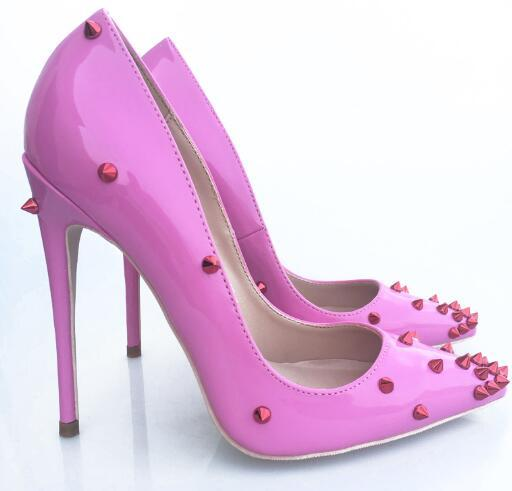 Hot Sale- fashion women pumps Pink patent leather studded spikes point toe high heels cone heel shoes sandals thin heel Women Dress Shoe