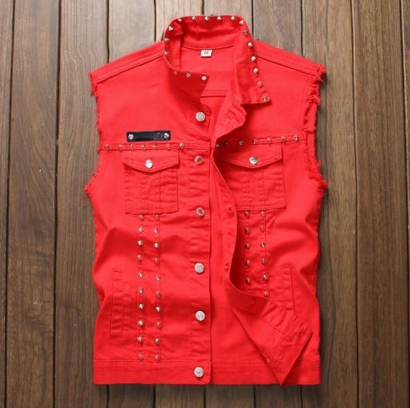 Red Black White Hip Hop Rivet Denim Vest Men Slim Fit Coats Male Cowboy Waistcoat Man Sleeveless Jean Jacket Punk Style Clothing