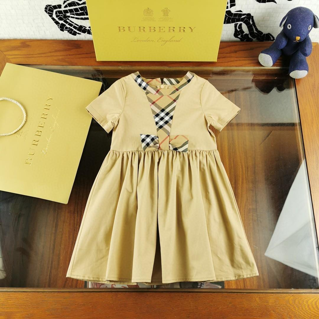 Girl Dress manga curta Algodão Qualidade Princesa saia alta qualidade moda arco casual vestido 030918