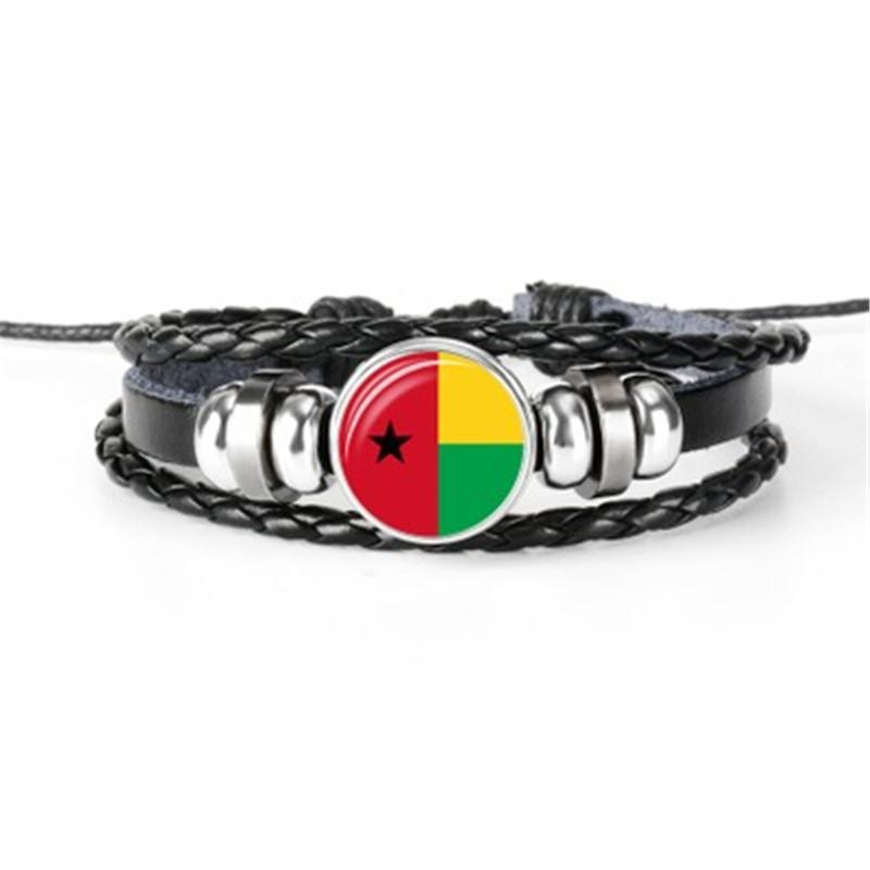 Hot sale Djibouti, Ethiopia, Germany, Greenland, Guinea, Guinea Bissau flag bracelet hand-woven multilayer leather flag bracelet