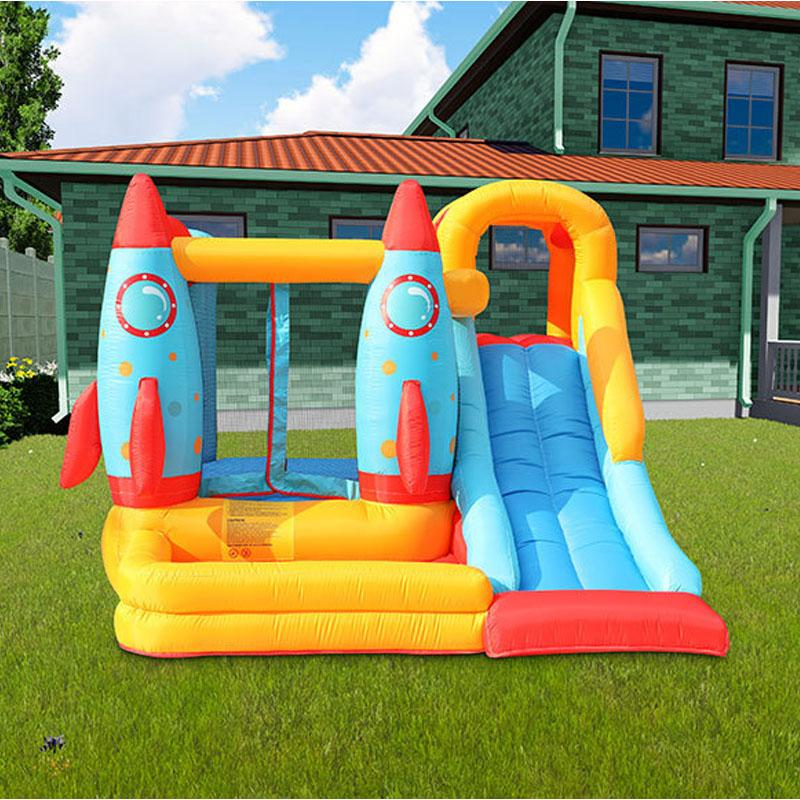 Small Inflatable Rocket Bouncer with Slide Dry Slide Bounce House for Family Garden Outdoor Event Party Play Fun