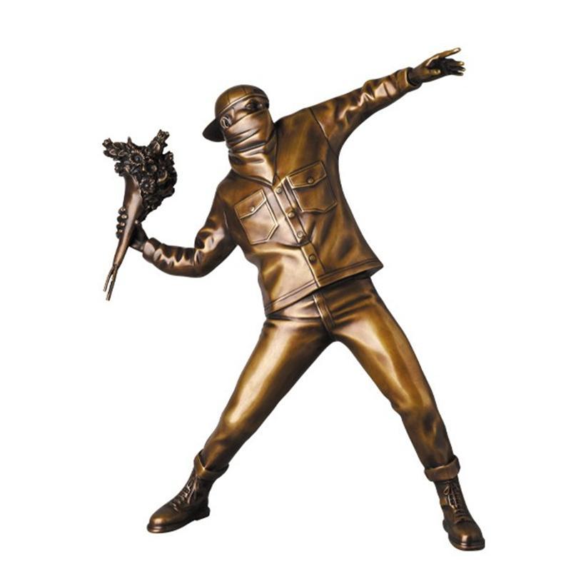 Banksy Fiore Bomber Bronzo edizione limitata Inghilterra Street Art Lanciare Fiore Scultura Statua Bomber Arte Moderna d'arte da collezione