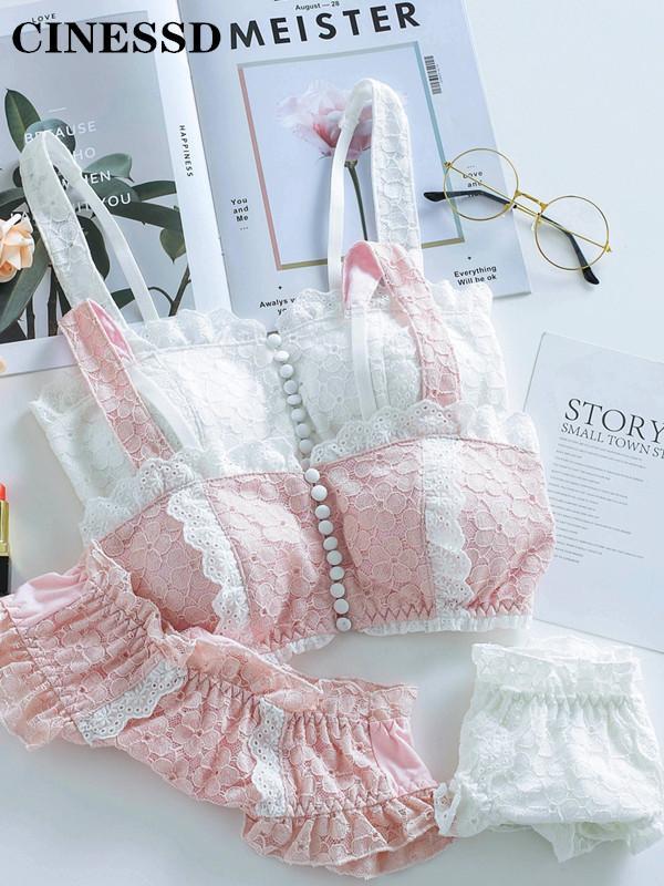 Rohr nach oben BH-Set neue japanische Mädchen-Liebe-Spitze-Frontschnalle Retro Literary Art Unterwäsche Set Sexy Frauen Unterwäsche Mori Outfit