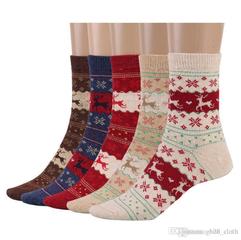 Женщины Рождественский подарок носок 5 стилей зима Кролик шерсть Снежинка олень шаблон носки осень теплые носки CNY689