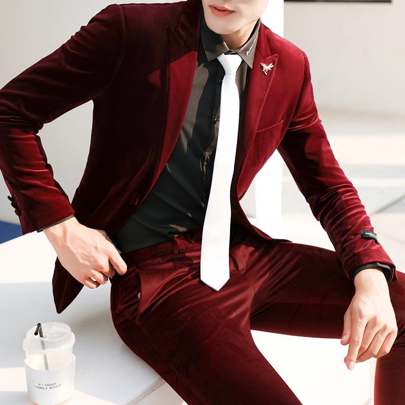 Gzdeerax Velvet Men Suit (blazer+pants) Luxury Single Breasted Solid Color Mens Suits Wedding Groom Fashion Slim Fit Man Suit