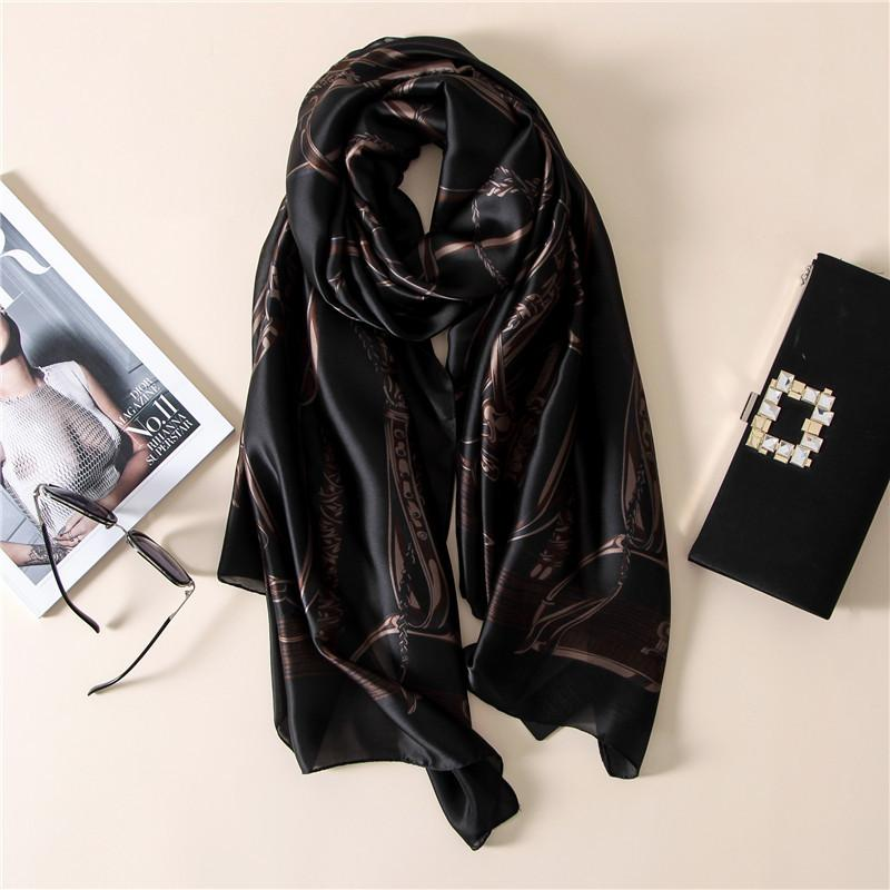 الأزياء باندانا 2017 100٪ الحرير وشاح الفاخرة النساء ماركة الأوشحة للنساء شال جودة عالية طباعة الحجاب التفاف 180 * 90 cm