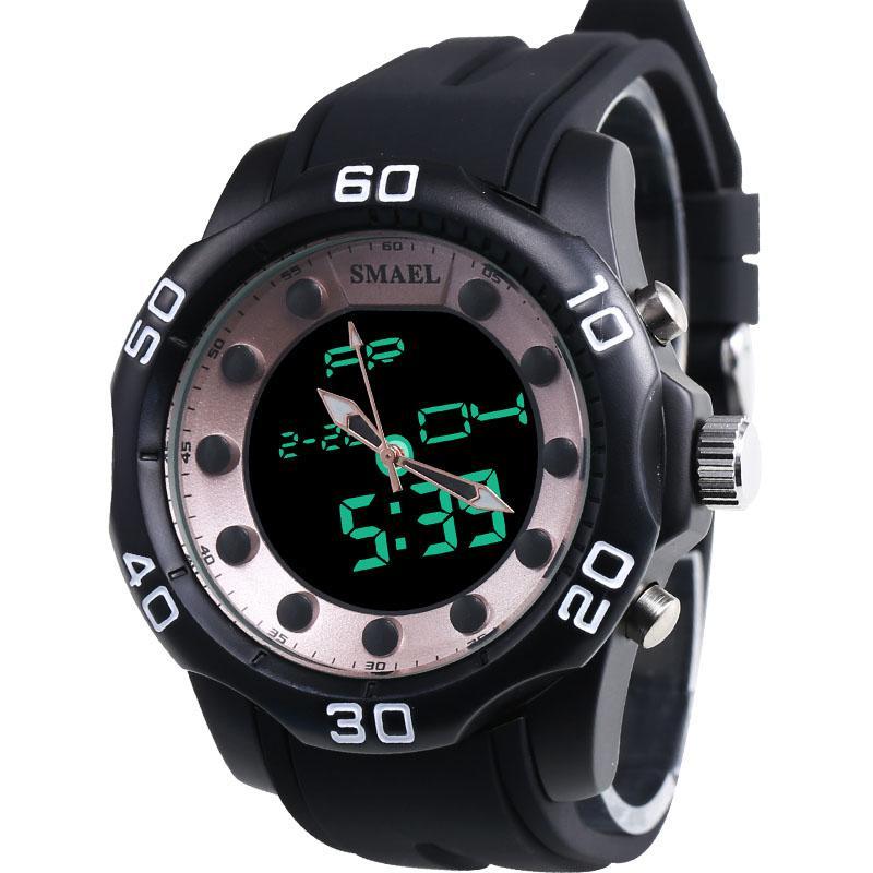 Herrenuhr SMAEL Marke Aolly Dual Display Time Clock Art und Weise beiläufige Elektronik Schwimmen-Kleid-Armbanduhr 2020 Hot Selling 1112