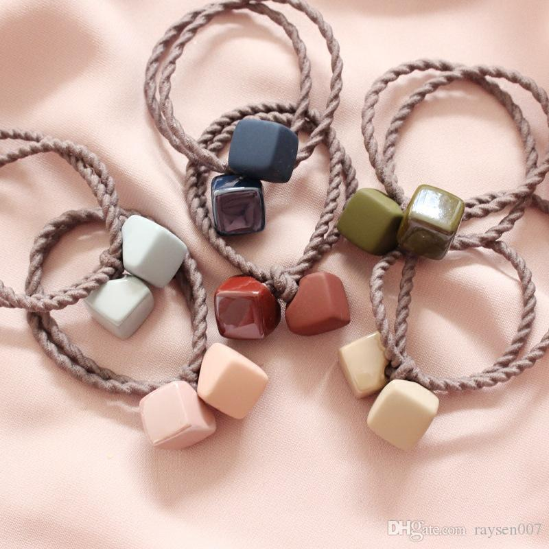 New Matte Rubber Multicolor Headwear Rope Cute Square Hair Ring Head Rope Tie Hair Rubber Band Simple Hair Accessories