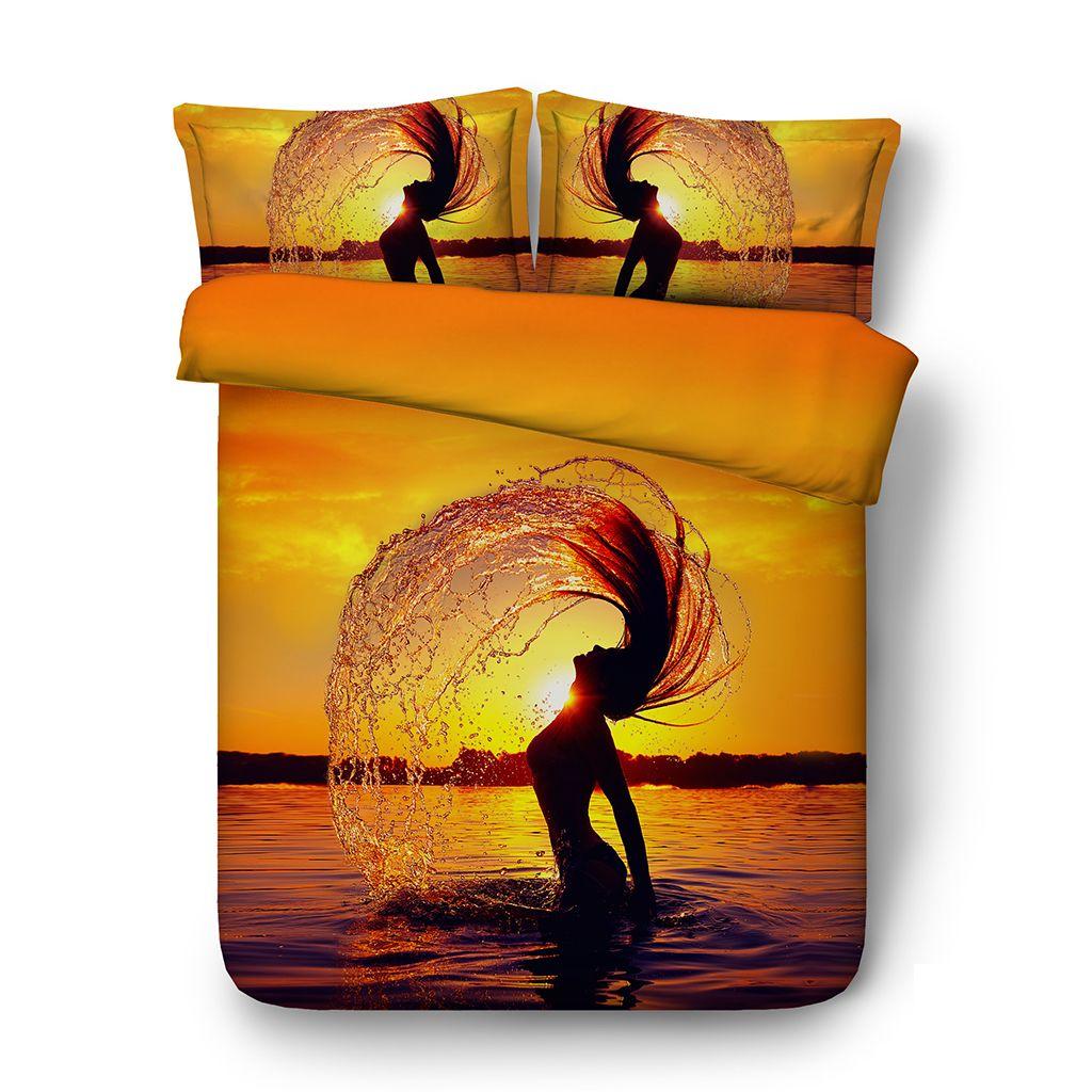 Beach Sunset Duvet Cover Set Ocean 3 Piece Bedding Set With 2 Pillow Shams Maple Leaf Bedspread Sea Bed Set 3D Comforter Cover Yellow Orange