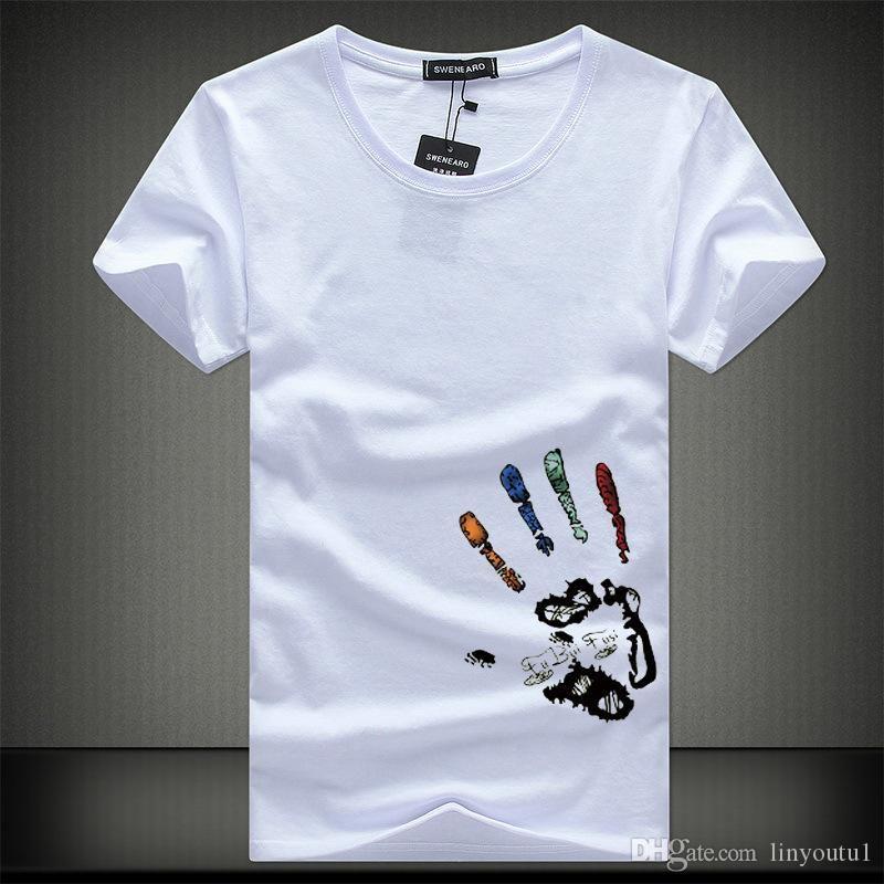 Nuevo hombre de las camisetas de moda de verano del O-Cuello Slim Fit de manga corta camiseta de los hombres de algodón mercerizado Marca-Vestimenta informal Hombres camiseta