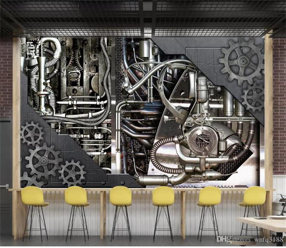 3D-Fototapete benutzerdefinierte Größe Wandwohnzimmersofa Fernsehhintergrund 3D Wandbild Tapete Maschine bar KTV Bild Metallgetriebe für Wand 3d