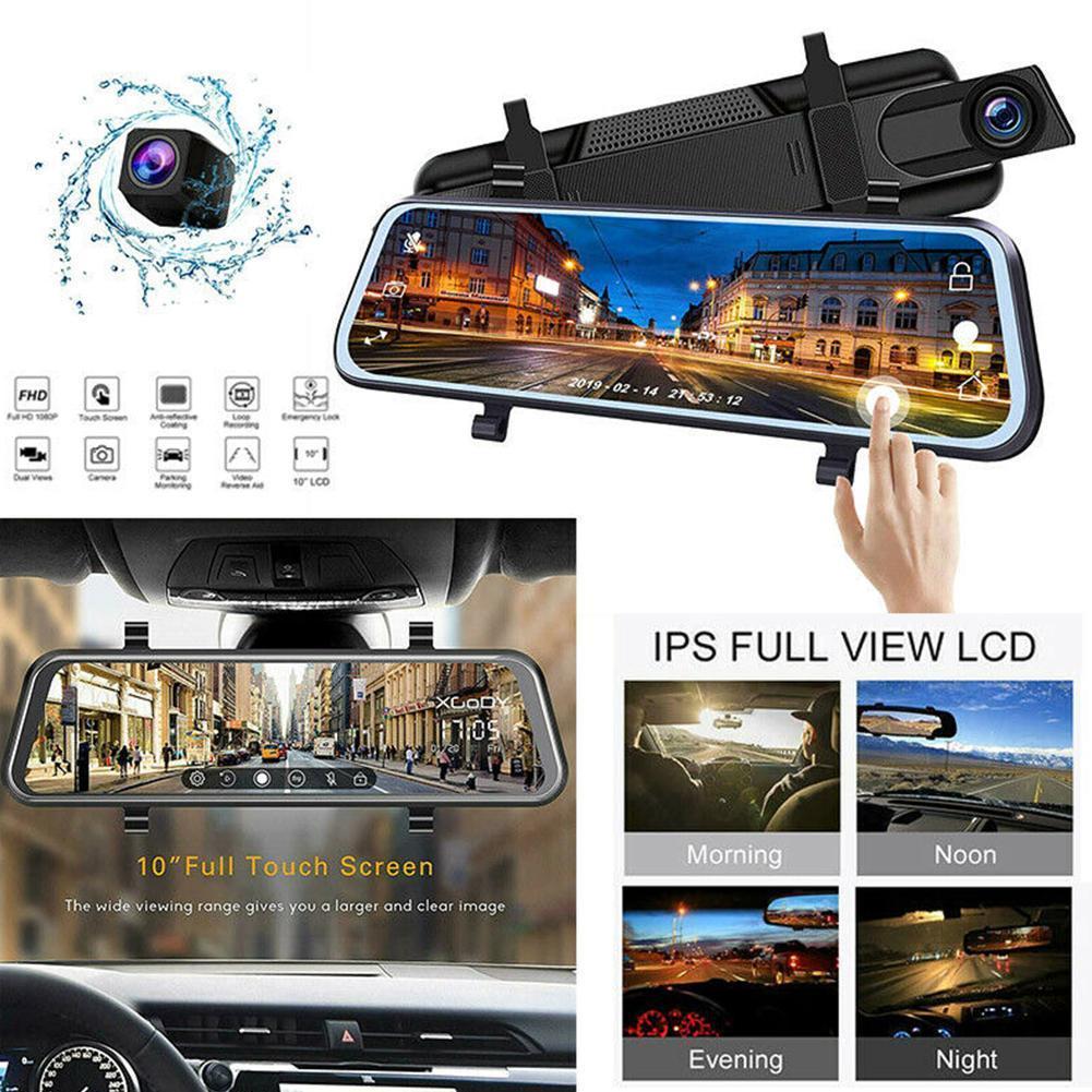 Di alta qualità da 10 pollici IPS schermo video DVR auto Rear View Mirror Dash cam Full HD 1080P auto fotocamera posteriore doppia fotocamera lente Recorder