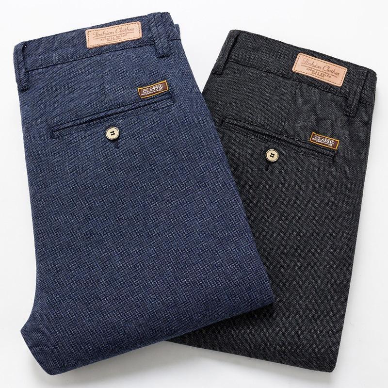 Pantalones para hombres 2021 Slim Casual Longitud completa Moda de moda Pantalones de estiramiento Masculino Marca Negro Azul Pantalones