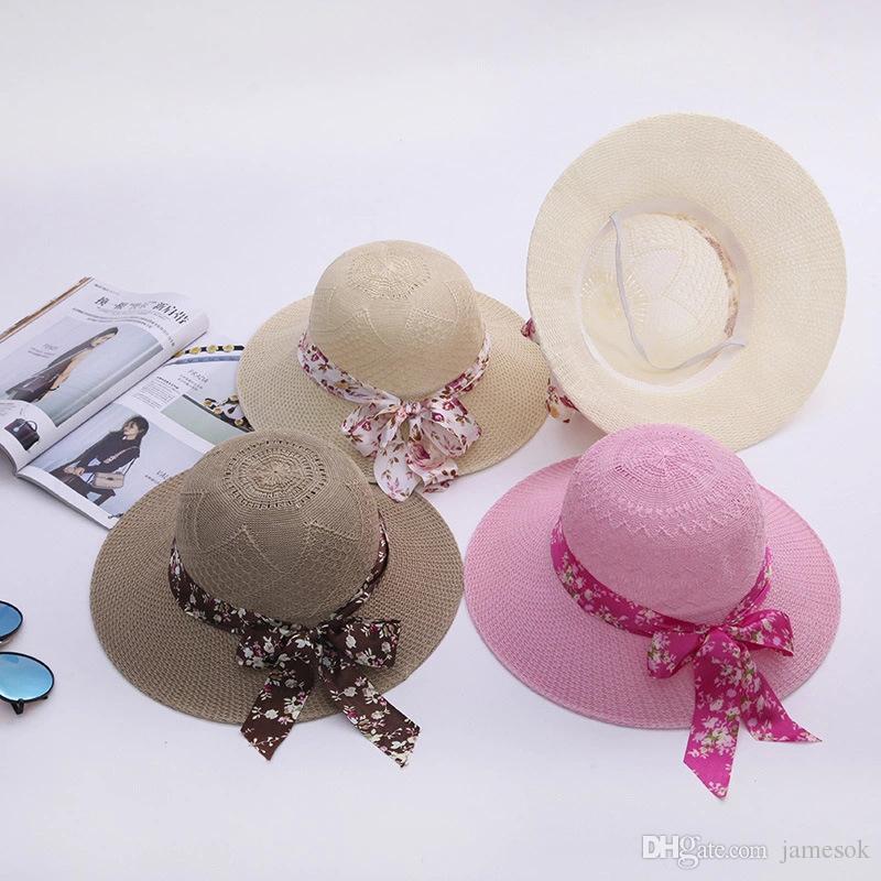 واسعة بريم مرن طية القبعة قبعات الصيف للمرأة خارج الباب وقاية من الشمس قبعة من القش المرأة شاطئ هات BD0042